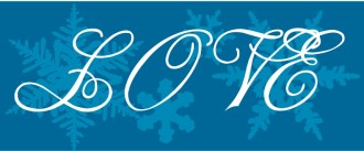 White Love Script over Snowflakes