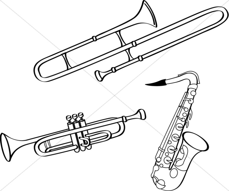 BW Line Art Brass Instruments
