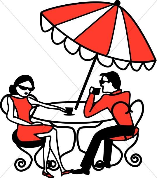 Cafe Scene Under Umbrella