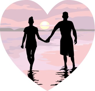 Holding Hands in Pink Sunset Heart