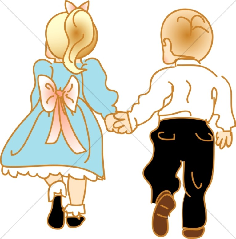 Little Girl and Boy Walk Hand in Hand