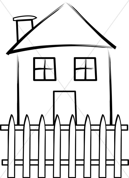 house with fence clip art - photo #10