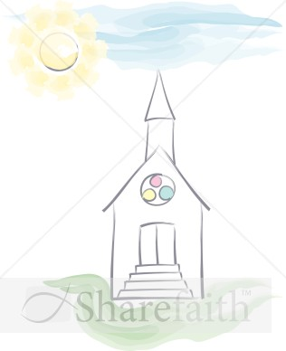 Watercolor Church and Sky