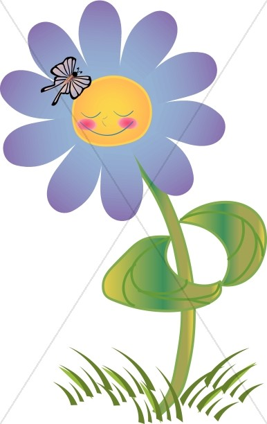 Purple Smiling Flower with Butterfly