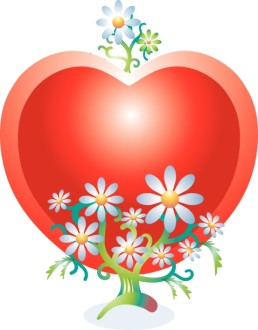 Red Heart with Lots of Daisies