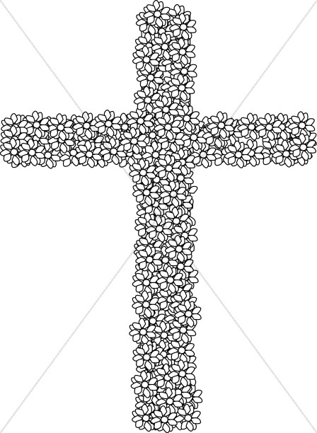 Black and White Simple Flower Cross