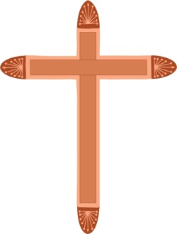 Cross with Fan Decorations