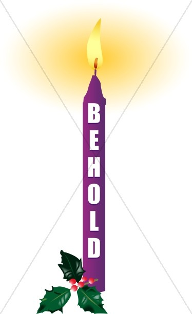 Purple Advent Candle with Behold