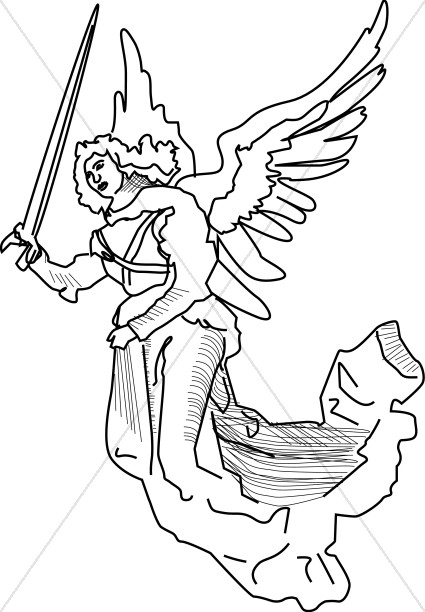 Angel with Sword Clipart