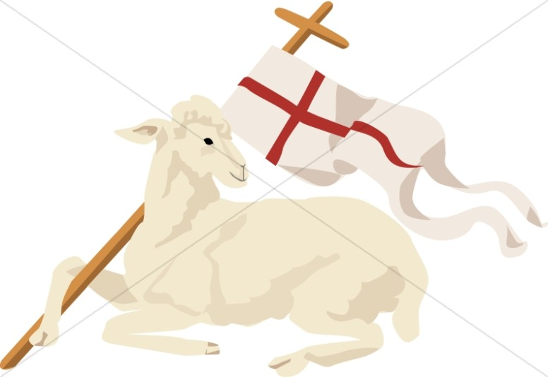 White Lamb with Christian Banner