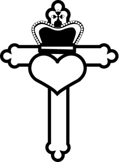 Sacred Heart Cross with Crown
