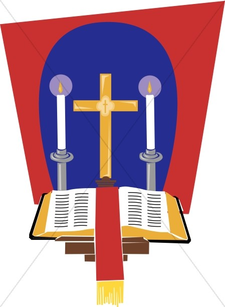 Holy Bible on Lectern in front of Cross