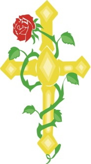 Gold Cross with Red Rose Vine