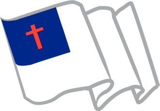 Waving Christian Flag