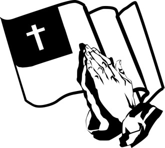 Praying Hands And The Christian Flag