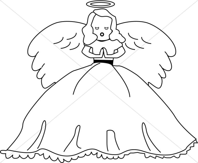 Cute Angel Doll Line art