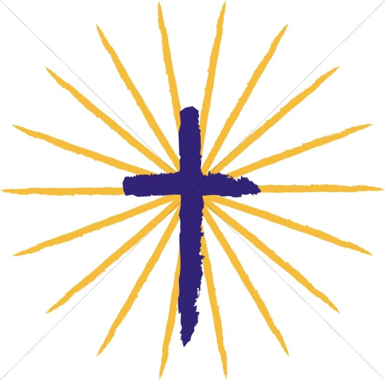 Pentecost Cross with Rays | Cross Clipart