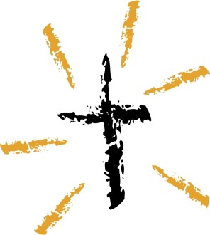 Abstract Ink Splash Shining Cross