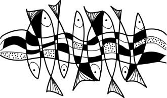 Stylized Fish and Water Graphic