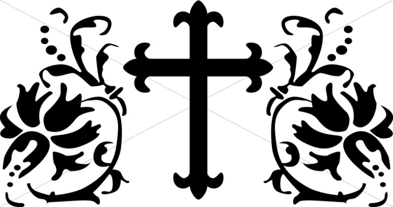 Fleur de lis Cross with Lily Design