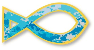 Blue and Gold Fish Symbol