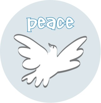 Peace with Dove Blue Circle