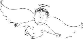 Black and white Friendly Cherub