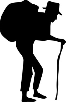 Old Man with Burden Silhouette