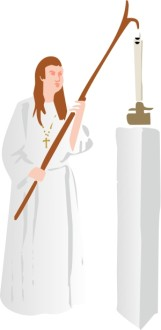 Catholic Church Member Lighting a Candle