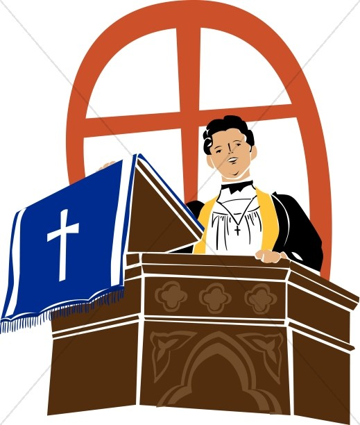 Preacher on a Pulpit | Clergy Clipart