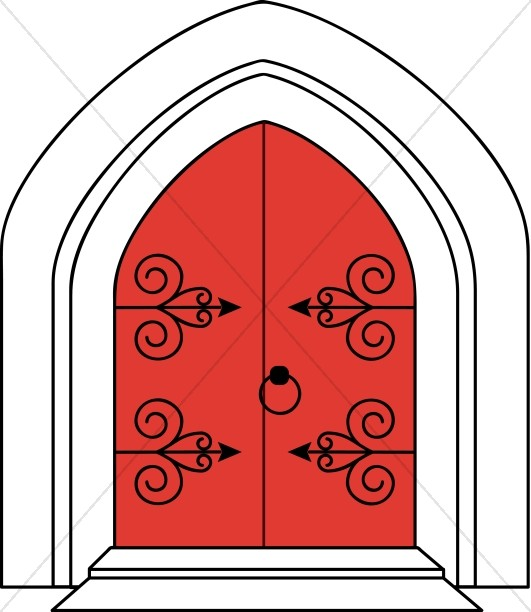 Church Doors in Outline