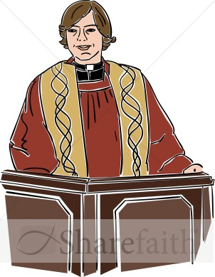 Female Preacher Behind Lectern