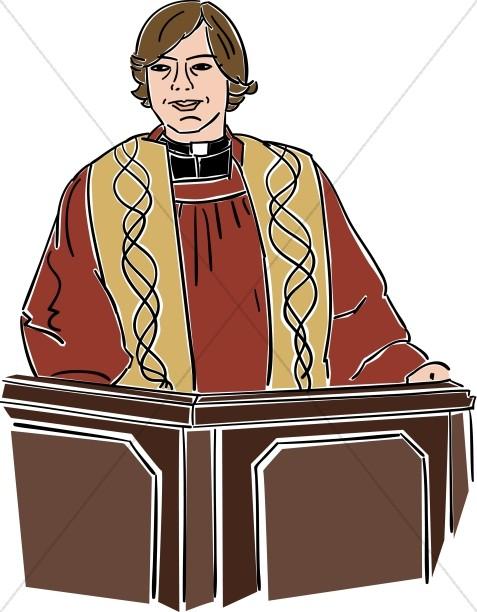 Female Preacher Behind Lectern