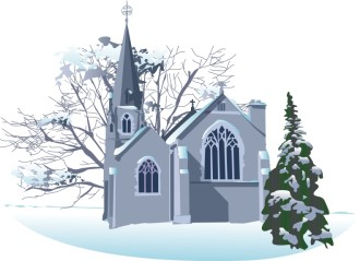 Snowy Winter Church