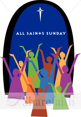 All Saints Sunday Typography with Colorful Worshippers