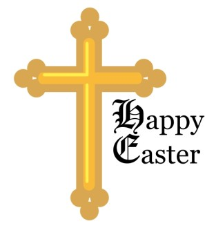 Calligraphic Happy Easter with Gold Cross
