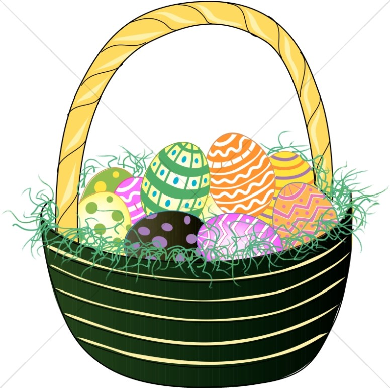 Green Basket with Easter Eggs
