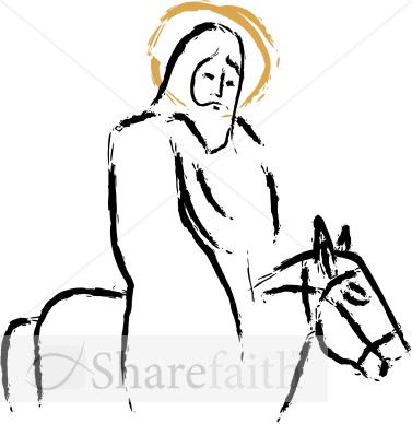 Jesus riding Donkey Painted Strokes
