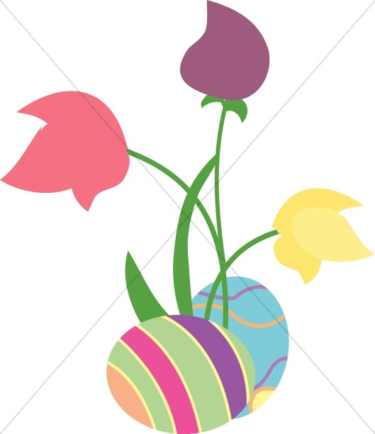 Eggs and Three Tulips