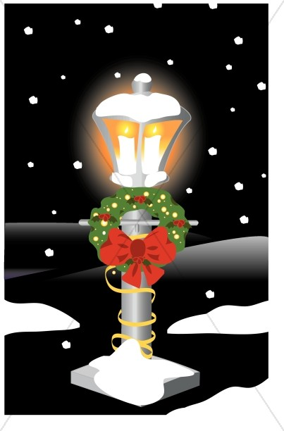 Glowing Lamppost with Wreath
