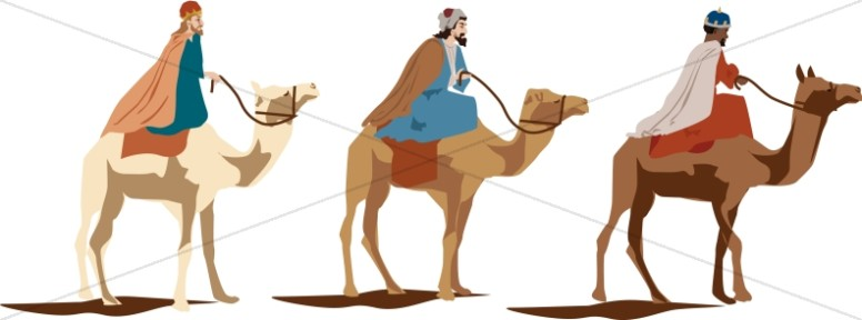 Three Magi on Camels