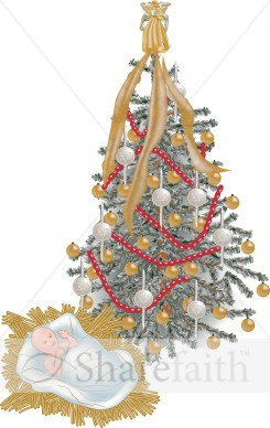 Christmas tree with baby jesus traditional christmas for Baby jesus christmas decoration