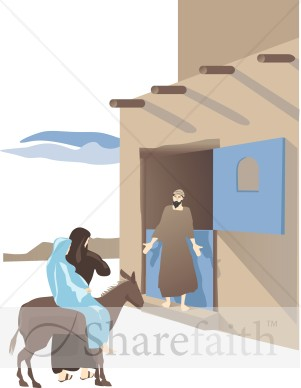 No Room In The Inn Nativity Clipart