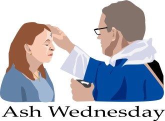 Ash Wednesday with Priest and Woman  Color