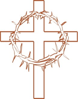 Crown of Thorns with Cross Outline