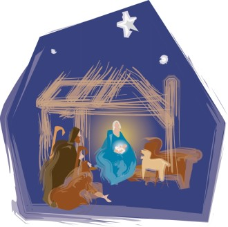 Nativity Scene with Stable Animals