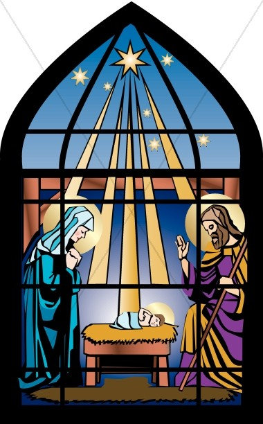 Stained Glass Nativity Nativity Clipart