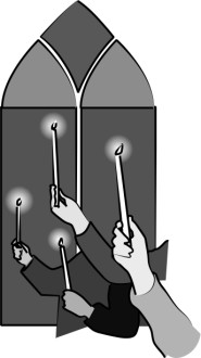 Grayscale Candle Holding Hands