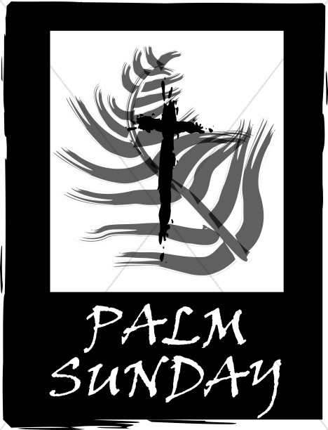Palm Sunday Sign with Palm over Cross