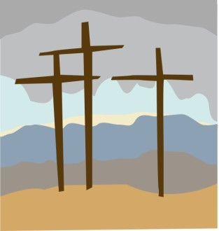 Calvary Crosses with Stormy Sky
